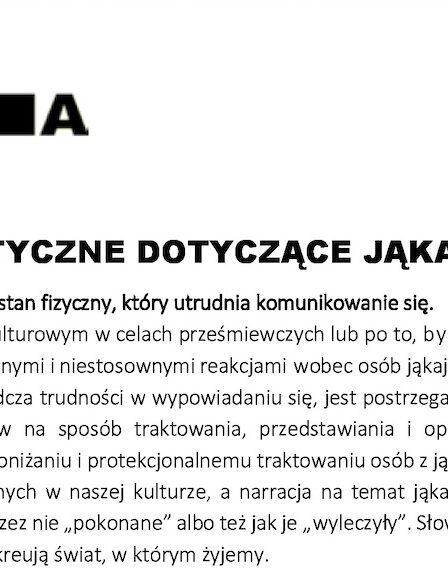 Język jest ważny: Zmieńmy sposób mówienia o jąkaniu… WYTYCZNE DOTYCZĄCE JĄKANIA (wersja polska).