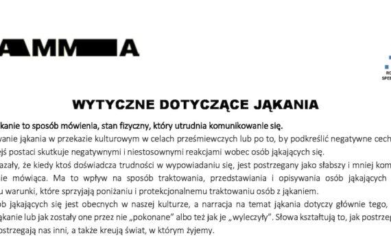 """Język jest ważny: Zmieńmy sposób mówienia ojąkaniu… <span class=""""caps"""">WYTYCZNE</span> DOTYCZĄCE JĄKANIA (wersja polska)."""